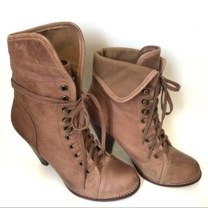 ALDO Leather granny combat ankle boot brown bootie
